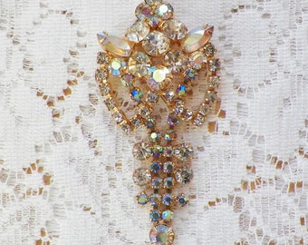 Large Dangling Aurora Borealis and Clear Rhinestone Brooch / Pin, Gold Tone Metal, Dress Embellishment, Coat Brooch, Vintage Bride / Bridal