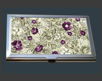 Business Card Case - Vintage Floral Design.