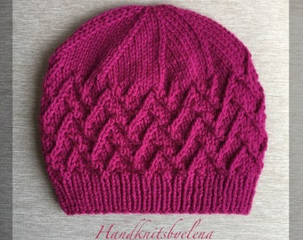 """Instant Download Knitting Pattern Hat """"Erika"""" in Sizes 12 Months and Adult"""