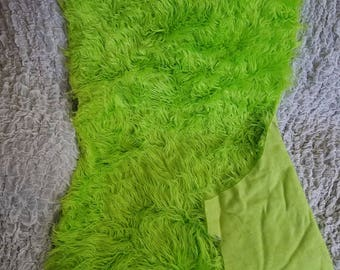 """3"""" Pile Faux Fur Fabric REMNANTS - Red, Blue, Green, Frosted Gray"""