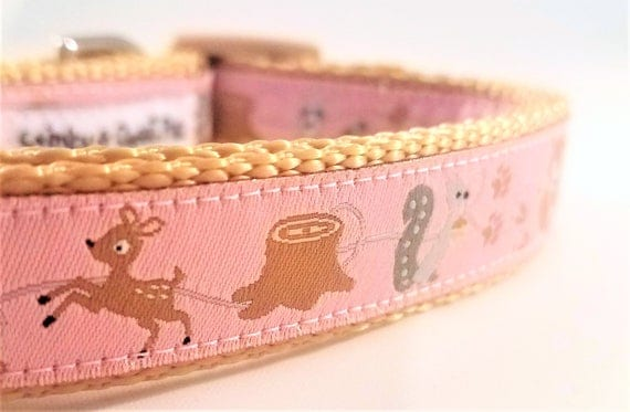 Woodland Friends Dog Collar / Handmade / Adjustable / Dog Collar / Forest / Fox / Woodland / Squirrel / Deer / Raccoon / Small Dog Collar