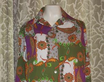 Vintage La Baroque Silky 70's Paisley Shirt M L