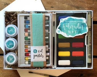 "DIY Watercolor Kit for Beginners - Includes Project Guides and Instructional Booklet - Wildflower Art Studio ""Watercolor Class in a Box"""