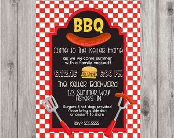 ON SALE Digital Chalkboard BBQ Barbecue Red Summer Cookout Party Invitation Printable