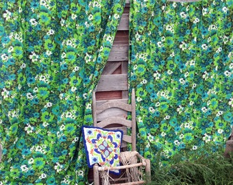 Vintage 1960's MOD Floral Flowers Green/Turquoise Blue Curtain Drape Panels Pleated