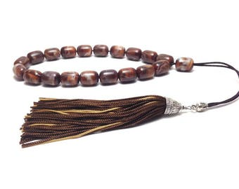Greek Komboloi - Worry beads - brown gold tassel - anti stress - stop smoking