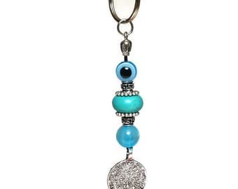 Keyring with blue evil eye and Minoan Phaistos disc - Greek pendant - Car/home gift - car accessories - Car gift - Greece