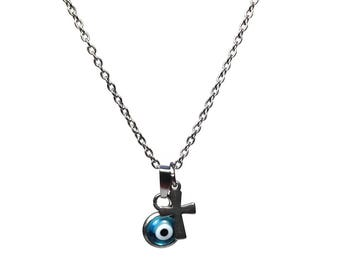 Evil eye necklace & cross - handmade jewelry - blue eye - stainless steel - protection - Greek jewelry - Gift for her - tiny necklace