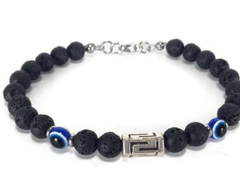 Greek Key evil eye bracelet - Lava beads - protection - Greek jewelry - Men's bracelet - Men's gift - Greece - Lucky charm