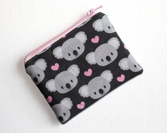 Mini Zippered Pouch in Sweet Koala Fabric