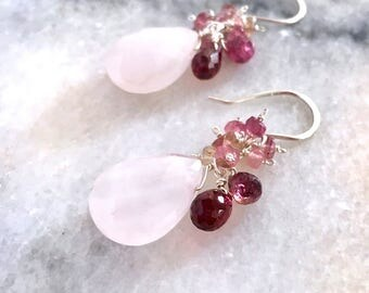 Rose Quartz Earrings with Genuine Garnet and Pink Tourmaline. Light Pink Quartz Gemstone with Red Garnet Sterling Silver Valentines Earrings