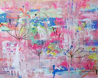 Fiesta of Flora - an original painting in mixed media on paper.