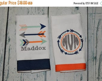 ON SALE Personalized Arrow Burp cloth Set of 2 Monogrammed