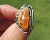 OUTSTANDING ORANGE ORACLE - Western Sterling Silver Feathered Mexican Fire Jelly Opal Ring - Size 9 - Free Resizing
