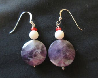 Sterling Silver Faceted Amythist White Agate and Red Coral Shell Beaded Hook Earrings