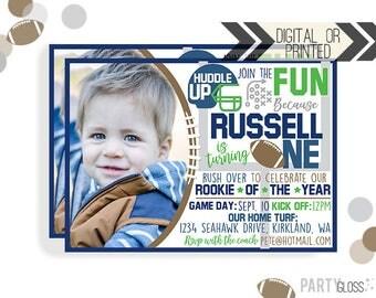 Football Birthday Invitation | Digital or Printed | Football Invitation | Rookie Year Invitation |  Rookie Invite | Seattle Football |
