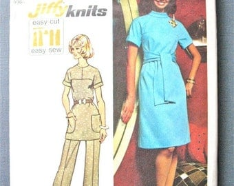 ON SALE Simplicity 5557 Bust 36 Vintage Misses OnePiece Dress Tunic and Bell Bottom Pants Sewing Pattern 1970s