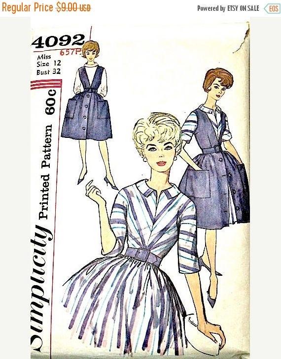 Costura vintage de 1960 una sola pieza vestido patrón