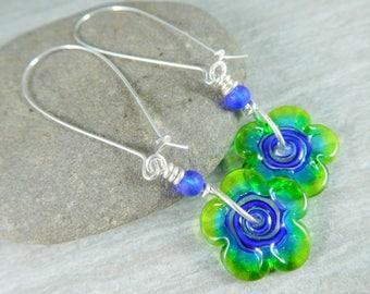 Funky Blue Green Glass Flower Long Silver Dangle Earrings, Whimsical Jewelry, Lampwork Earrings, Unique Earrings Hippie Earrings Fun Jewelry