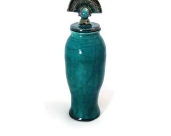 RAKU COIL POTTERY Lidded Jar- Funerary Urn - Handmade Pottery
