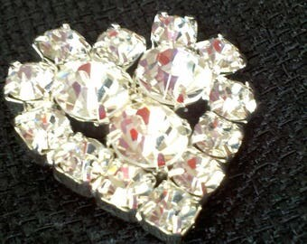"Rhinestone Heart - Silver Plated Heart Shank Rhinestone Button - 1 1/8 "" x 1 1/8"" X 1"