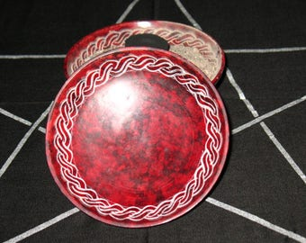 Red Soapstone Incense Burner~Red and White~Altar and Ritual Tool