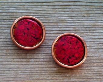 Vintage MATISSE RENOIR Enamel Copper Clip Earrings, Matisse Earrings, Matisse Jewelry, Renoir Jewelry, Modernist Copper Earrings, MCM Copper