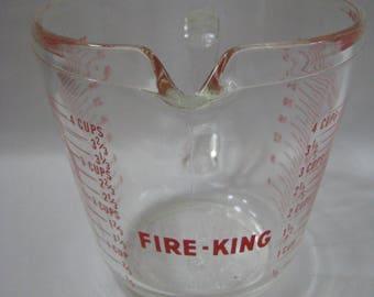 Vintage Fire King 4 cup Measuring Cup 1 Quart Liquid
