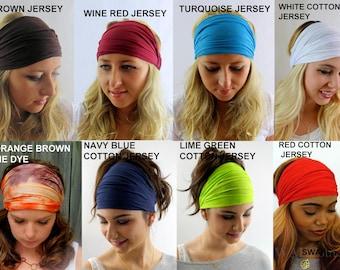 Yoga Headband head Scarf Choose Any Three - COTTON JERSEY Stretch Wide Workout Headband or JersEy Twist Headband Running Headband Head Wrap