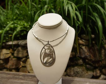 Mid Century Large Metal Pendant on Wire Necklace