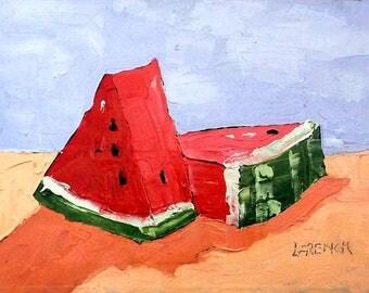IMPRESSIONIST Lynne French Painting Summer WATERMELON Garden Fruit 11x14