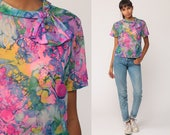 Hippie Blouse Floral Shirt 70s Boho Top Ascot Bow Psychedelic Tie Dye Bohemian Short Sleeve 60s Vintage Hot Pink Purple Large
