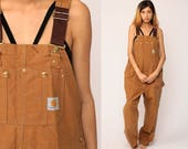 Carhartt Overalls Baggy Pants GRUNGE Cargo Dungarees Light Brown Suspender Pants 90s Long Wide Leg Jeans Vintage Extra Large xl