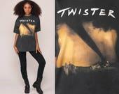 Twister Movie Shirt 90s Shirt Graphic Tee Shirt Vintage 1996 Movie Tshirt Film Black Retro T Shirt 1990s Tornado Hurricane Extra Large xl