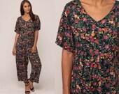 Floral Jumpsuit 80s Pantsuit Vintage Baggy Romper Pants 90s Grunge Flower Print Boho Short Sleeve Green Pink Medium