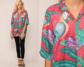 Parrot Shirt Tropical Surfer Bird Print HAWAIIAN Blouse Palm Tree 80s Top Button Up Jungle Floral Short Sleeve Surfer Hipster Red Large