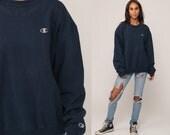 Champion Sweatshirt Crewneck Pullover Sports Jumper 90s Streetwear Shirt Navy Blue Slouch 1990s Vintage Plain Extra Large xl 2xl xxl