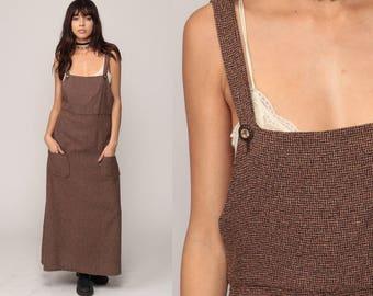 Overall Dress 90s Maxi Grunge Pinafore Bib Checkered Print Jumper Brown 1990s Vintage School Girl Preppy Sleeveless Small