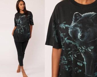 WOLF TShirt Animal T Shirt 90s Graphic Tshirt Wildlife Black Hipster 1990s Screenprint Retro Extra Large xl