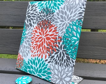 Magnetic Board, Dorm Organizer, Dorm Decor, Vision Board, Freestanding, Turquoise Tangerine Bloom Fabric, Planner Board, Story Board