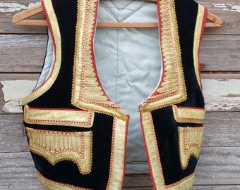 Traditional Vintage Afghani Vest Embellished Black Velvet w embellishment Pashtun Folkloric