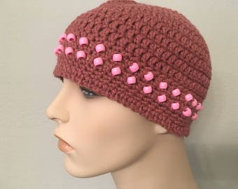 Rose Crocheted Skullcap with Pink Beads
