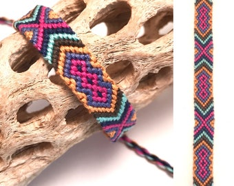 Friendship bracelet - embroidery floss - knotted - diamonds - aztec - tribal - woven - macrame - thread - string - colorful - handmade
