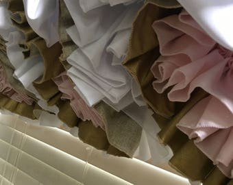 White Triple Ruffle Balloon Valance with white blush pink and glisten gold ruffles