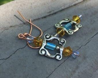 Crystal earrings, bohemian earrings, edgy earrings, gypsy earrings, blue crystal, amber crystal, trendy earrings