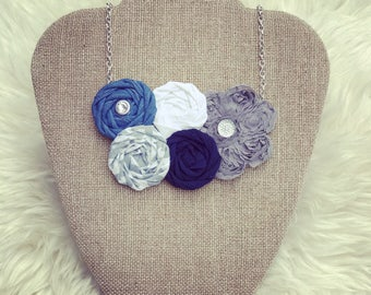 Blue, White, and Grey Fabric Flower Statement Necklace, Rolled Rosette Statement Necklace, Fashion Necklace, Bridesmaid Gift, Bridal Party