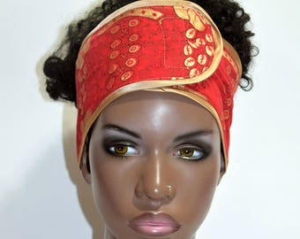 Red & Gold African Inspired Wrap Cap- Satin Lined-Wrapped Hair