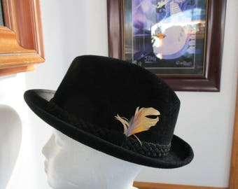 STETSON Fedora  Black Velvet /Feather Trimmed  Hat- Men's Vintage Fedora Hat