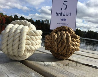 10 Nautical Table Number Holders - Set of 10 - Larger - Rope Knots  - Off White or Brown - Card Holders - Solid Centres - Quality Knots