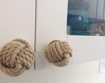 6 Rope Drawer Pulls - Nautical Doorknobs - Jute Rope - Nautical Decor - 6 Rope Doorknobs - Dresser Pulls - Knot Dresser Pulls